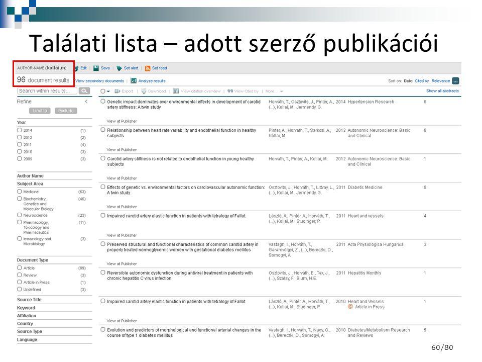 Találati lista – adott szerző publikációi 60/80