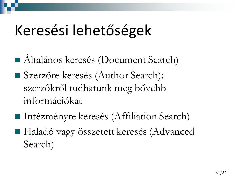 Keresési lehetőségek Általános keresés (Document Search) Szerzőre keresés (Author Search): szerzőkről tudhatunk meg bővebb információkat Intézményre keresés (Affiliation Search) Haladó vagy összetett keresés (Advanced Search) 61/80