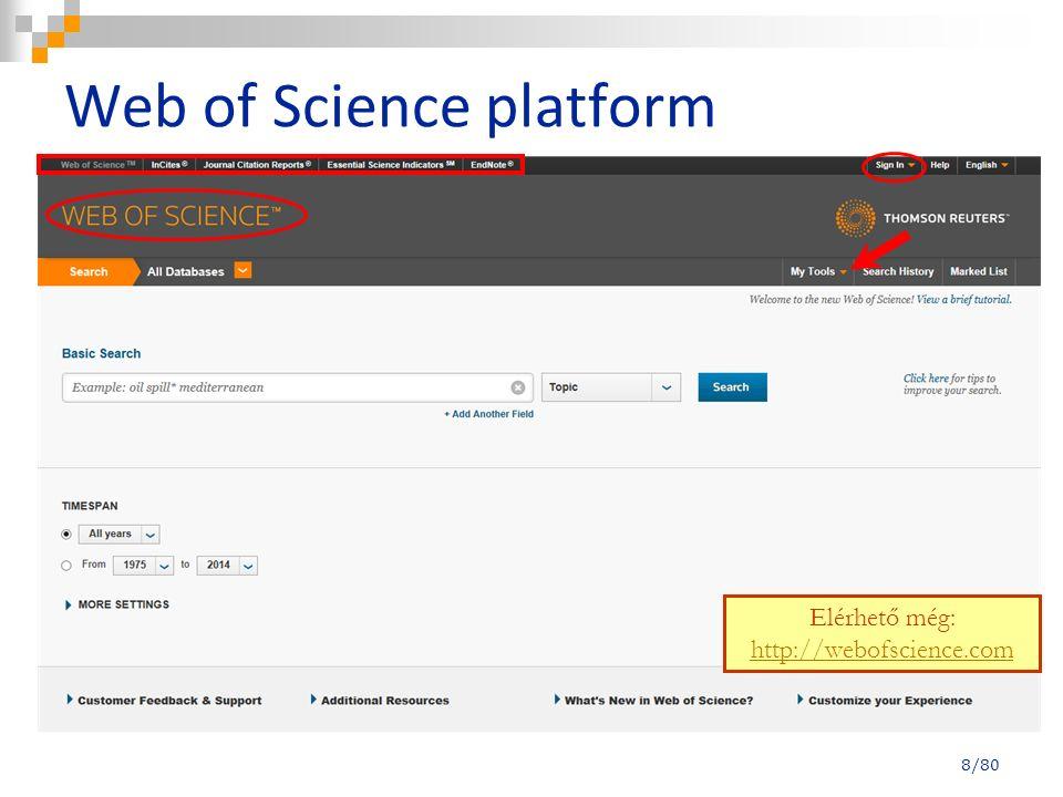 Teljes megjelenítési forma – idézetek száma 29/80 Idézetek száma a Web of Science Core Collection adatbázisban Idézetek száma a Web of Science adatbázisaiban (előfizetéstől függ mennyi idézetet látunk)