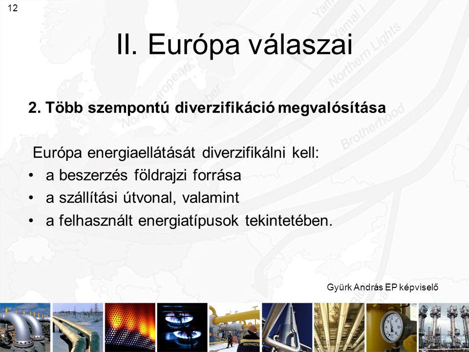Gyürk András EP képviselő 12 II. Európa válaszai 2. Több szempontú diverzifikáció megvalósítása Európa energiaellátását diverzifikálni kell: a beszerz