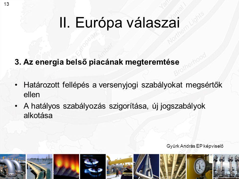 Gyürk András EP képviselő 13 II. Európa válaszai 3. Az energia belső piacának megteremtése Határozott fellépés a versenyjogi szabályokat megsértők ell