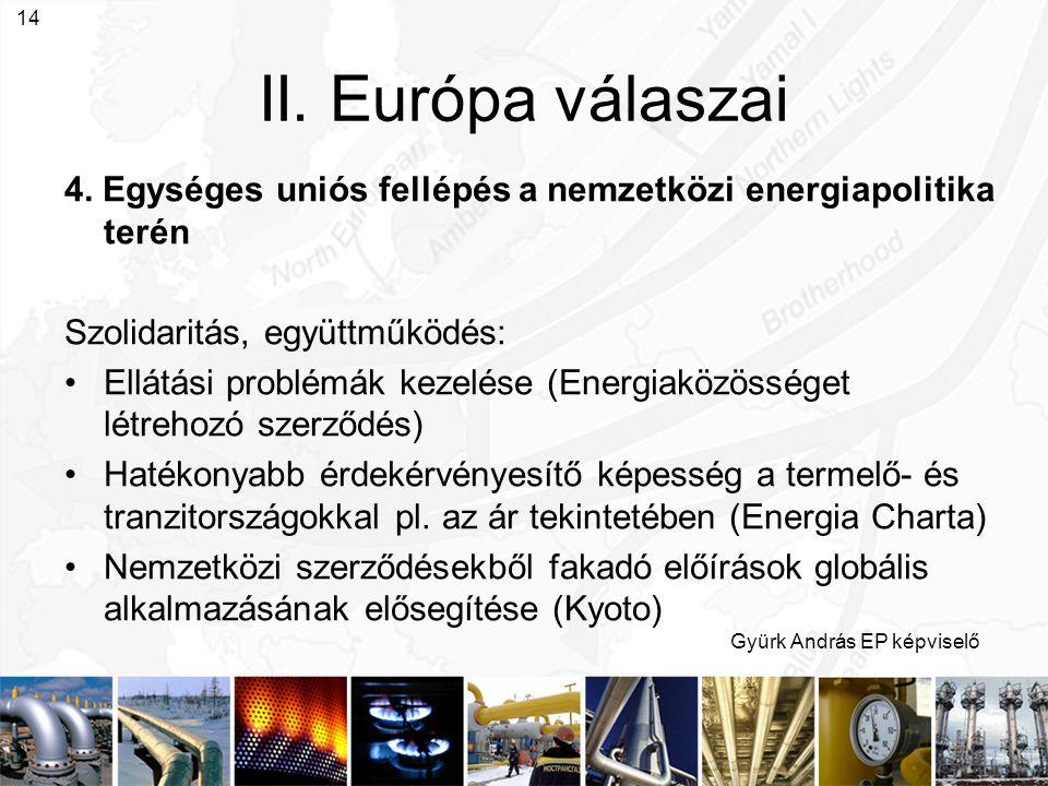 Gyürk András EP képviselő 14 II. Európa válaszai 4. Egységes uniós fellépés a nemzetközi energiapolitika terén Szolidaritás, együttműködés: Ellátási p