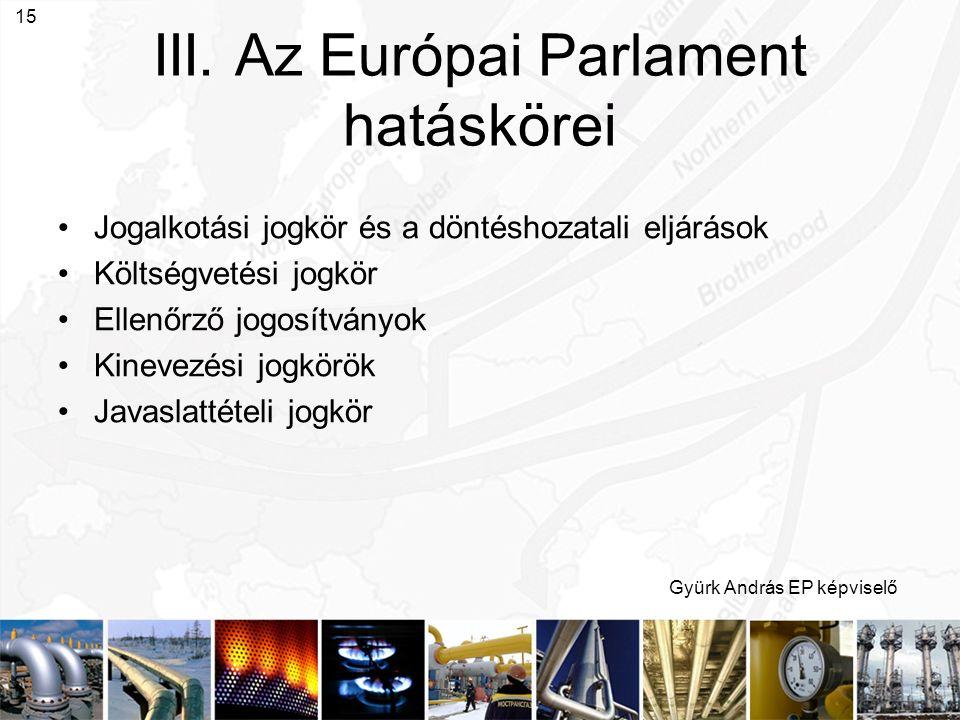 Gyürk András EP képviselő 15 III. Az Európai Parlament hatáskörei Jogalkotási jogkör és a döntéshozatali eljárások Költségvetési jogkör Ellenőrző jogo