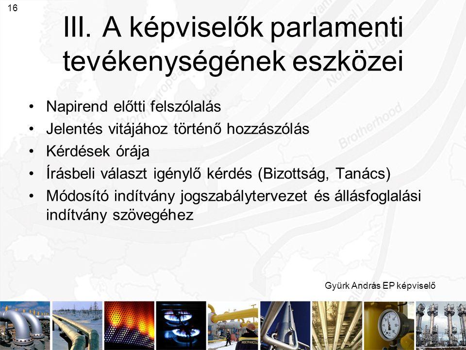Gyürk András EP képviselő 16 III. A képviselők parlamenti tevékenységének eszközei Napirend előtti felszólalás Jelentés vitájához történő hozzászólás