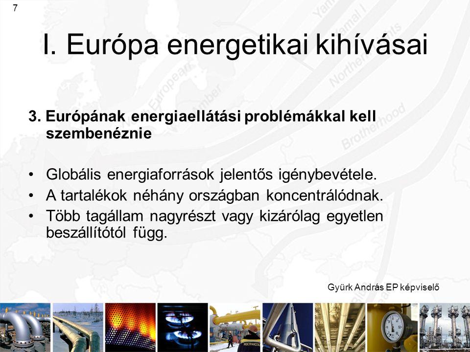 Gyürk András EP képviselő 7 I. Európa energetikai kihívásai 3. Európának energiaellátási problémákkal kell szembenéznie Globális energiaforrások jelen