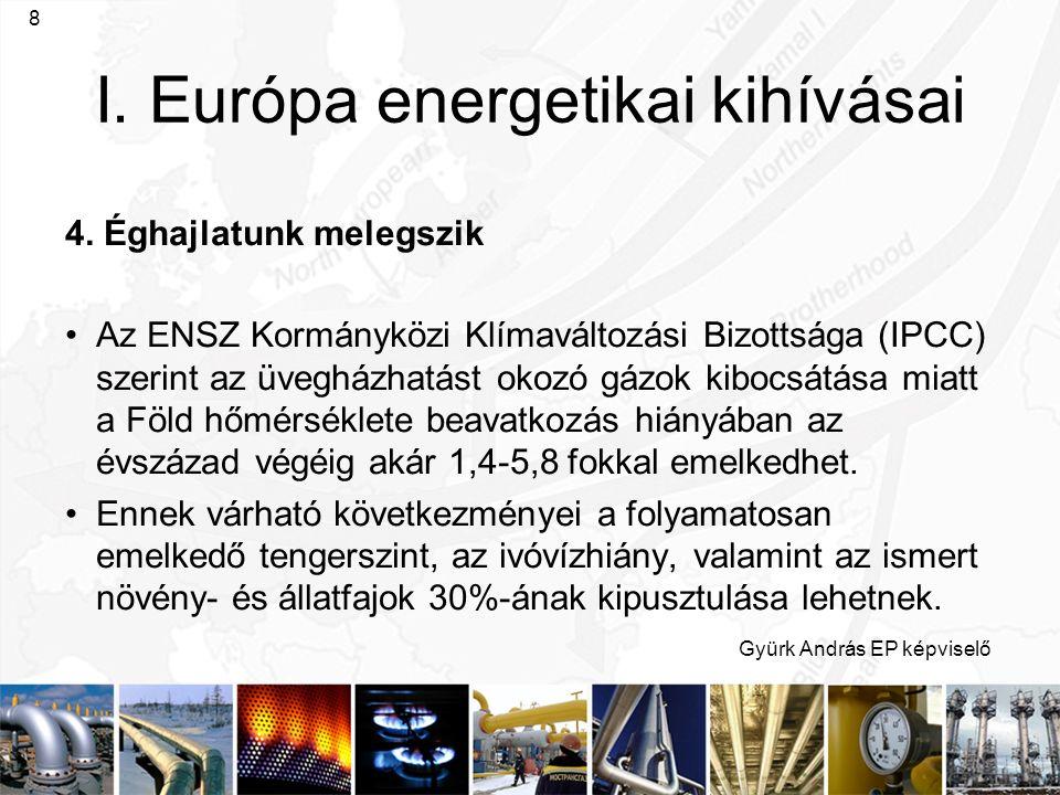 Gyürk András EP képviselő 8 I. Európa energetikai kihívásai 4. Éghajlatunk melegszik Az ENSZ Kormányközi Klímaváltozási Bizottsága (IPCC) szerint az ü