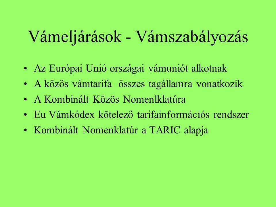 Vámeljárások - Vámszabályozás Az Európai Unió országai vámuniót alkotnak A közös vámtarifa összes tagállamra vonatkozik A Kombinált Közös Nomenlklatúra Eu Vámkódex kötelező tarifainformációs rendszer Kombinált Nomenklatúr a TARIC alapja