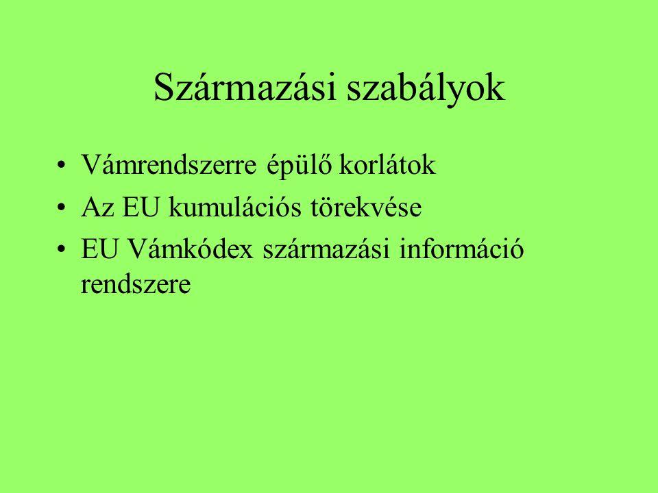 Származási szabályok Vámrendszerre épülő korlátok Az EU kumulációs törekvése EU Vámkódex származási információ rendszere