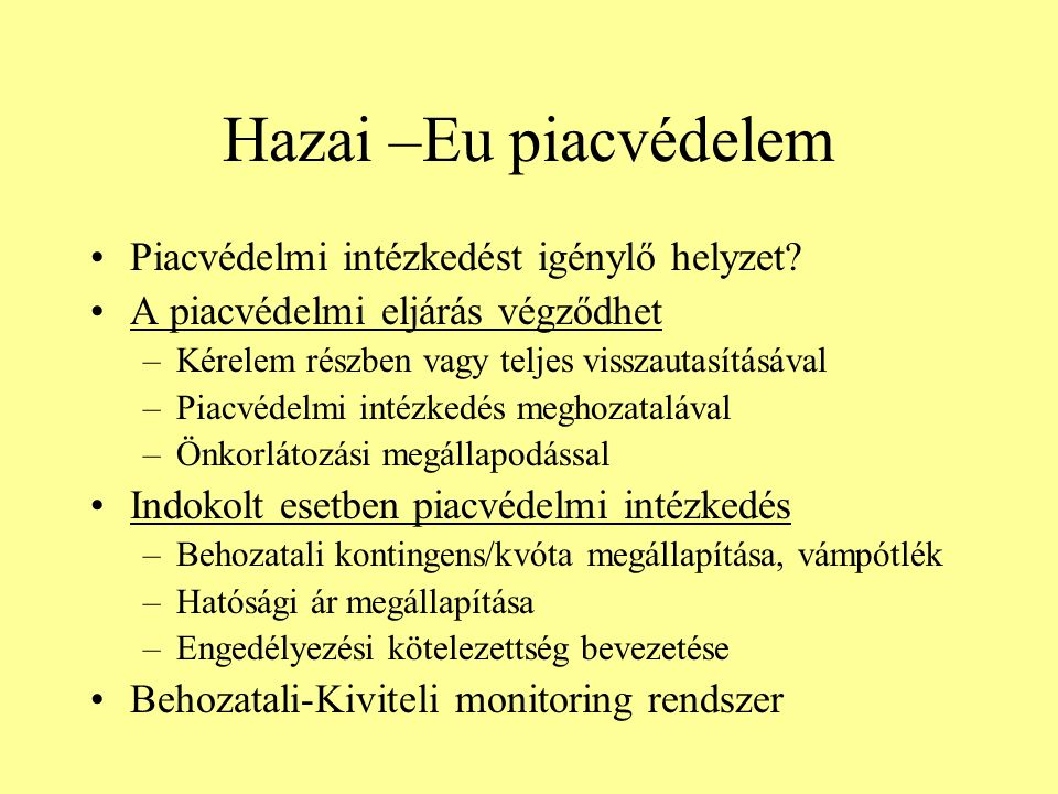 Hazai –Eu piacvédelem Piacvédelmi intézkedést igénylő helyzet.
