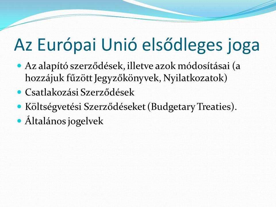 Az Európai Unió elsődleges joga Az alapító szerződések, illetve azok módosításai (a hozzájuk fűzött Jegyzőkönyvek, Nyilatkozatok) Csatlakozási Szerződések Költségvetési Szerződéseket (Budgetary Treaties).