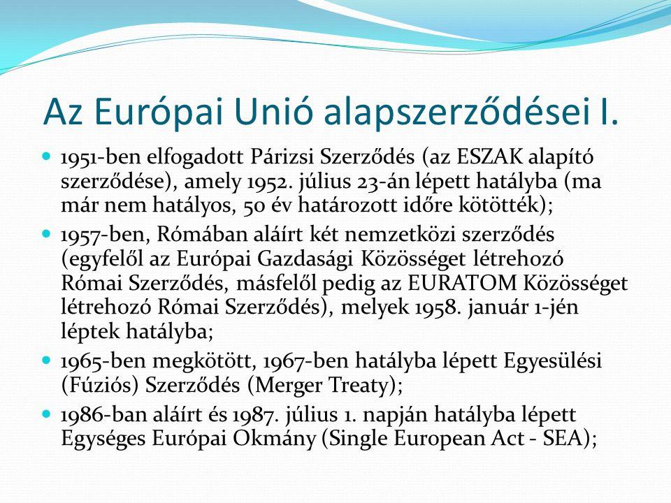 Az Európai Unió alapszerződései I.