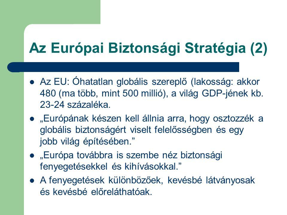 Az Európai Biztonsági Stratégia (2) Az EU: Óhatatlan globális szereplő (lakosság: akkor 480 (ma több, mint 500 millió), a világ GDP-jének kb.