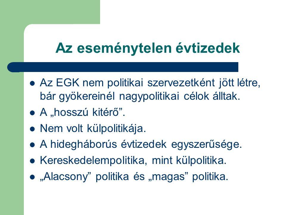 Az eseménytelen évtizedek Az EGK nem politikai szervezetként jött létre, bár gyökereinél nagypolitikai célok álltak.