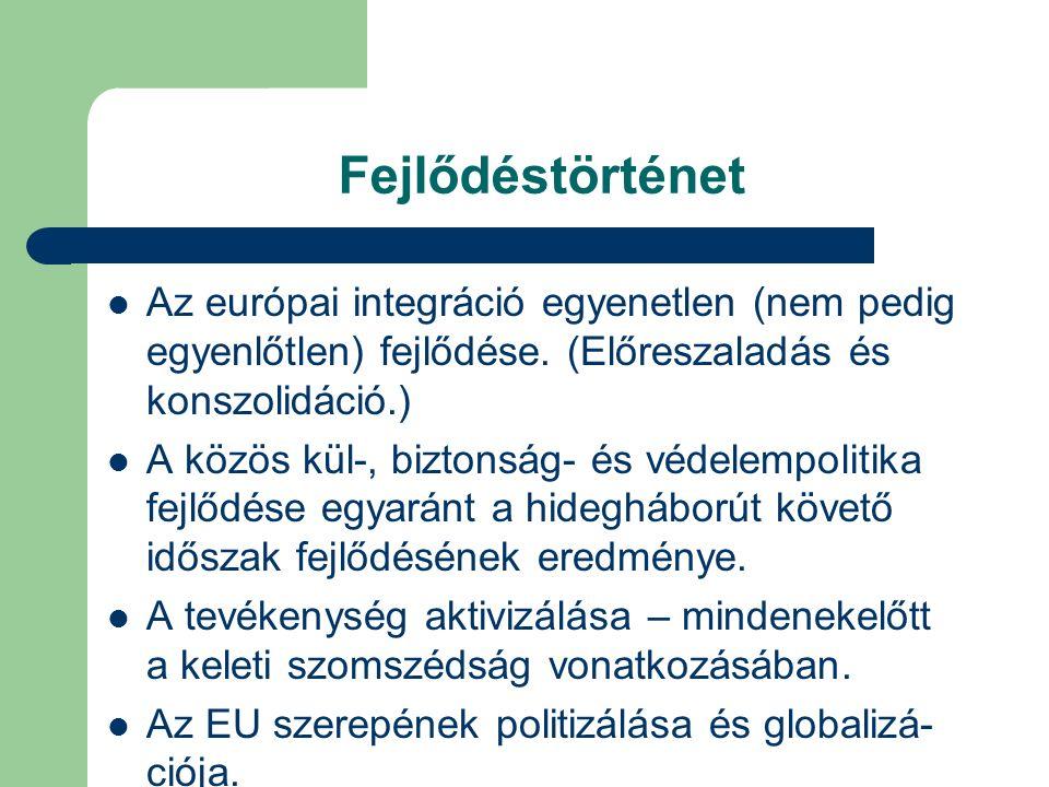 Fejlődéstörténet Az európai integráció egyenetlen (nem pedig egyenlőtlen) fejlődése.