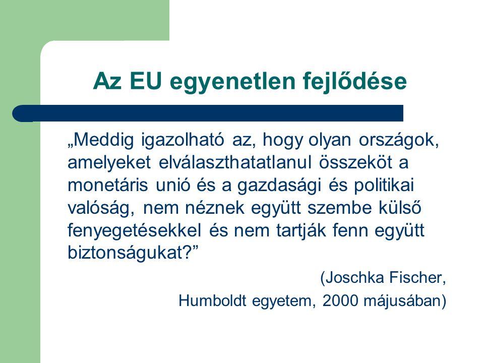 """Az EU egyenetlen fejlődése """"Meddig igazolható az, hogy olyan országok, amelyeket elválaszthatatlanul összeköt a monetáris unió és a gazdasági és politikai valóság, nem néznek együtt szembe külső fenyegetésekkel és nem tartják fenn együtt biztonságukat (Joschka Fischer, Humboldt egyetem, 2000 májusában)"""