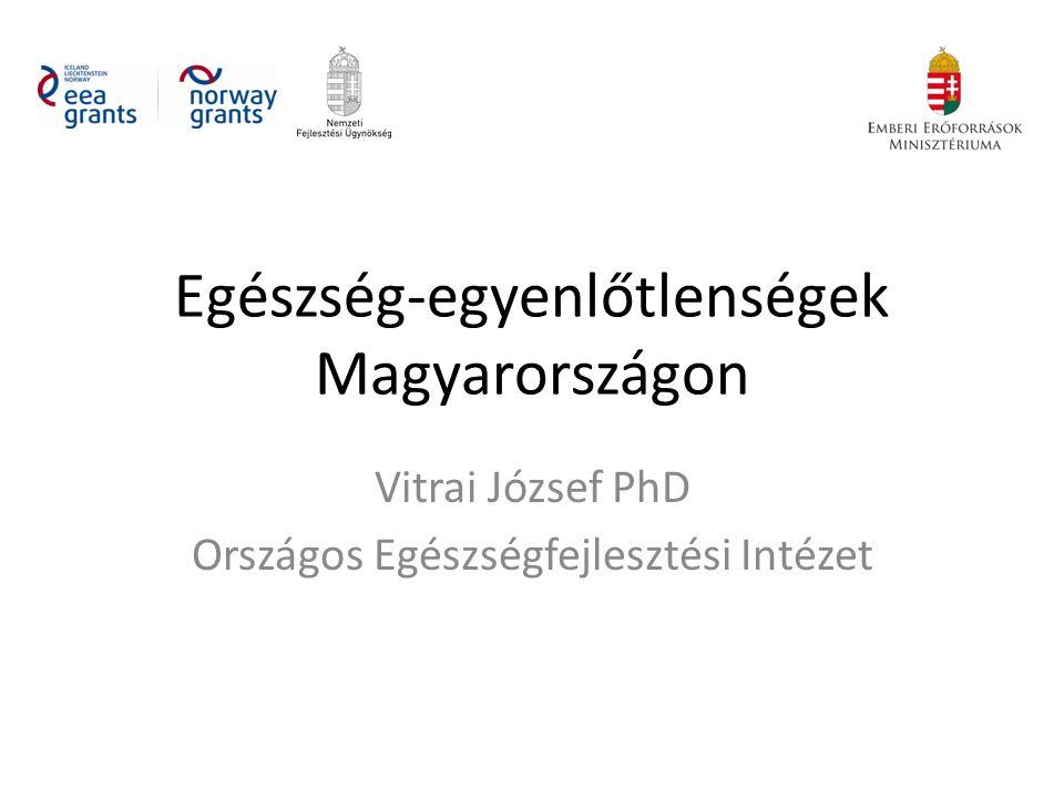 Egészség-egyenlőtlenségek Magyarországon Vitrai József PhD Országos Egészségfejlesztési Intézet