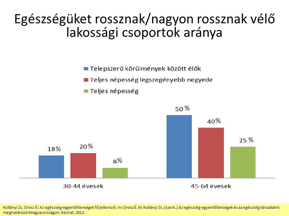 Egészségüket rossznak/nagyon rossznak vélő lakossági csoportok aránya Kollányi Zs, Orosz É: Az egészség-egyenlőtlenségek fő jellemzői.