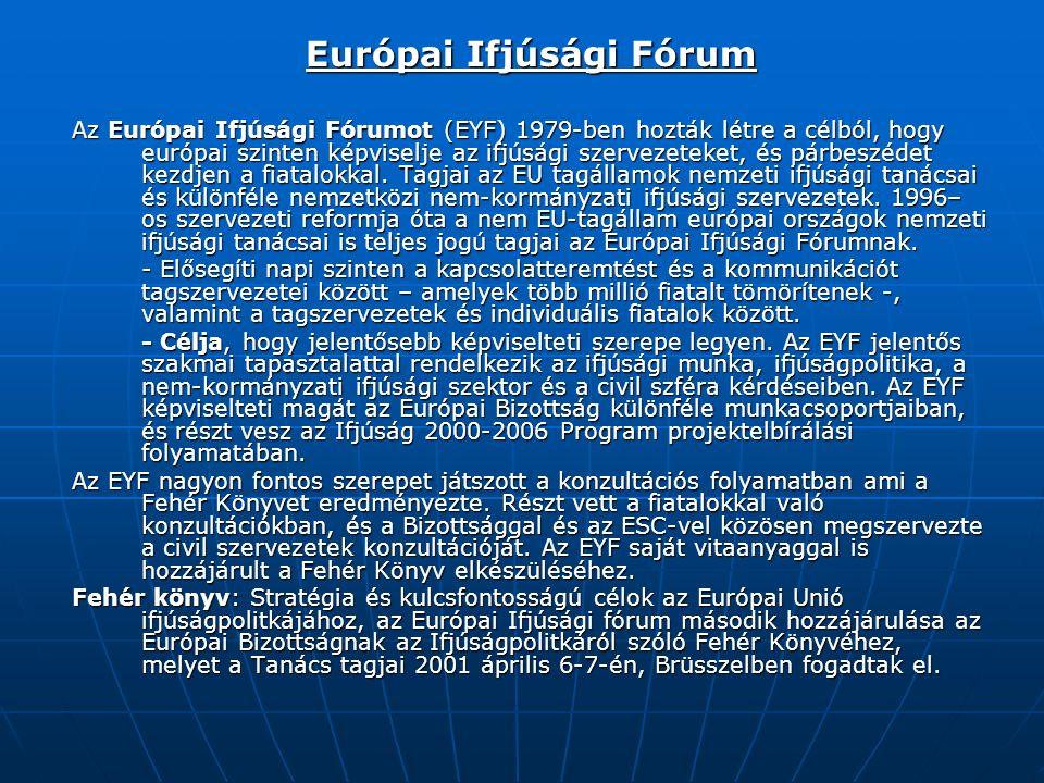Európai Ifjúsági Fórum Az Európai Ifjúsági Fórumot (EYF) 1979-ben hozták létre a célból, hogy európai szinten képviselje az ifjúsági szervezeteket, és párbeszédet kezdjen a fiatalokkal.