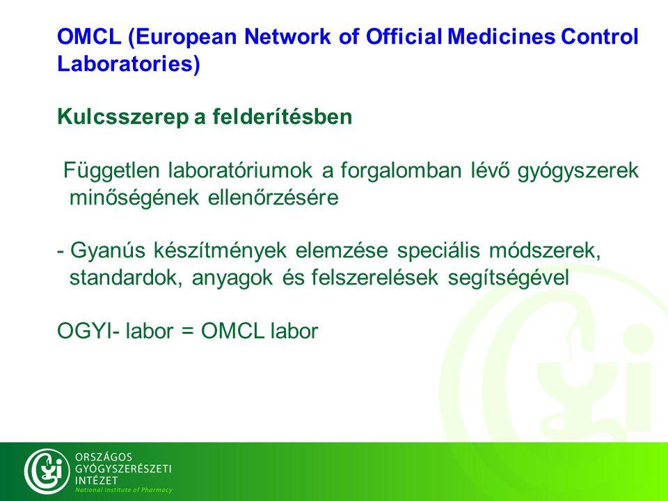 OGYI labor=OMCL labor OMCL (European Network of Official Medicines Control Laboratories) Kulcsszerep a felderítésben Független laboratóriumok a forgalomban lévő gyógyszerek minőségének ellenőrzésére - Gyanús készítmények elemzése speciális módszerek, standardok, anyagok és felszerelések segítségével OMCL (European Network of Official Medicines Control Laboratories) Kulcsszerep a felderítésben Független laboratóriumok a forgalomban lévő gyógyszerek minőségének ellenőrzésére - Gyanús készítmények elemzése speciális módszerek, standardok, anyagok és felszerelések segítségével OGYI- labor = OMCL labor