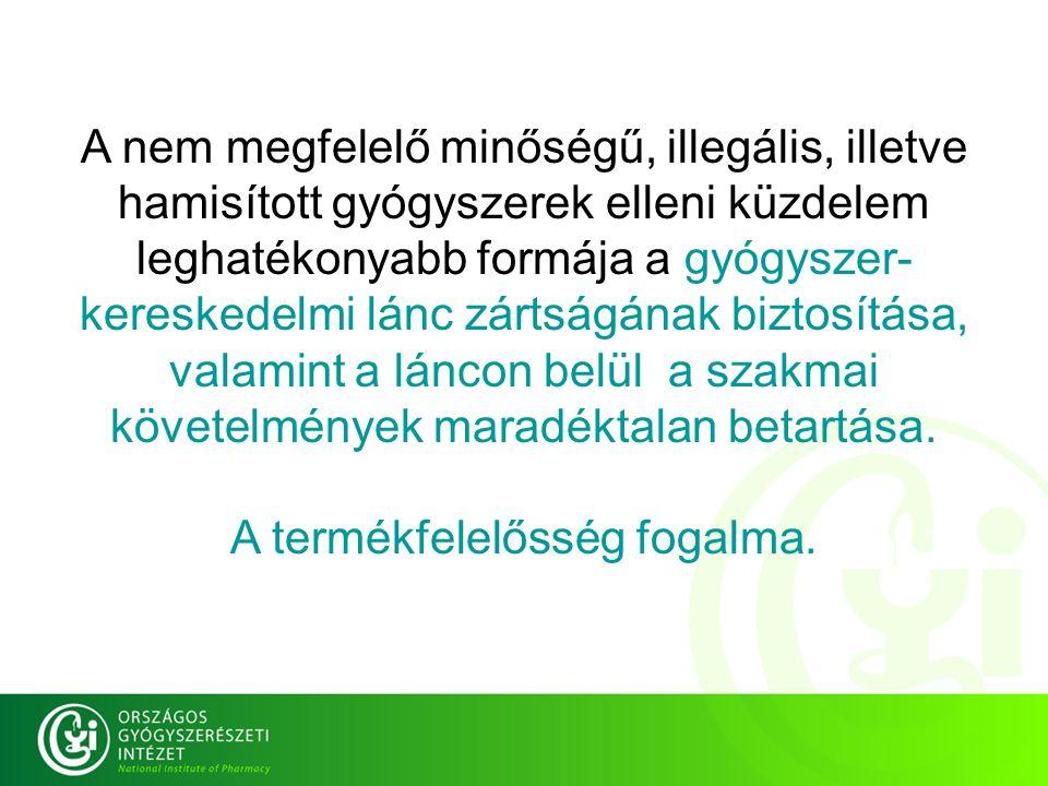 A nem megfelelő minőségű, illegális, illetve hamisított gyógyszerek elleni küzdelem leghatékonyabb formája a gyógyszer- kereskedelmi lánc zártságának biztosítása, valamint a láncon belül a szakmai követelmények maradéktalan betartása.