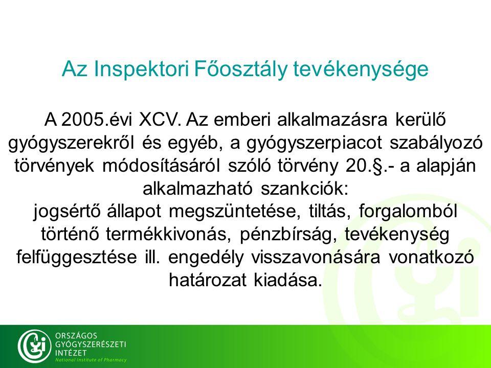 Az Inspektori Főosztály tevékenysége A 2005.évi XCV.