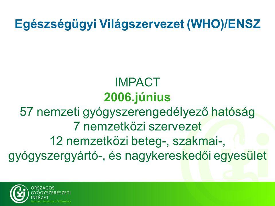 Egészségügyi Világszervezet (WHO)/ENSZ IMPACT 2006.június 57 nemzeti gyógyszerengedélyező hatóság 7 nemzetközi szervezet 12 nemzetközi beteg-, szakmai-, gyógyszergyártó-, és nagykereskedői egyesület