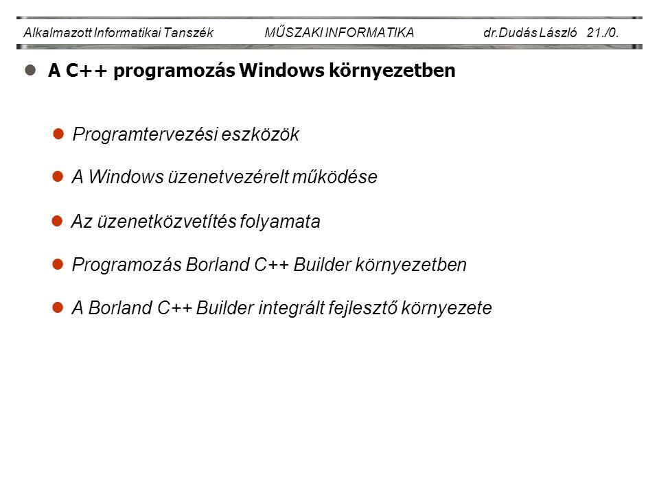 lA C++ programozás Windows környezetben Alkalmazott Informatikai Tanszék MŰSZAKI INFORMATIKA dr.Dudás László 21./0.