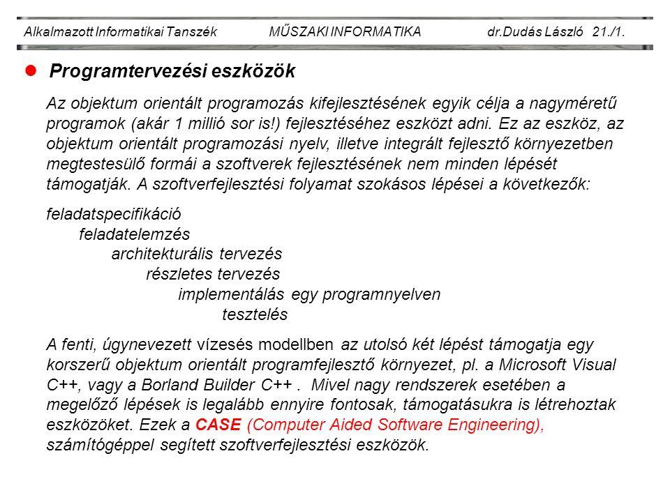 Alkalmazott Informatikai Tanszék MŰSZAKI INFORMATIKA dr.Dudás László 21./1.