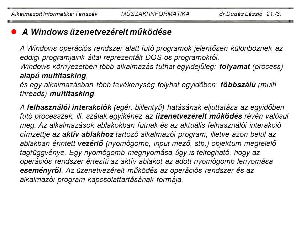 Alkalmazott Informatikai Tanszék MŰSZAKI INFORMATIKA dr.Dudás László 21./4.