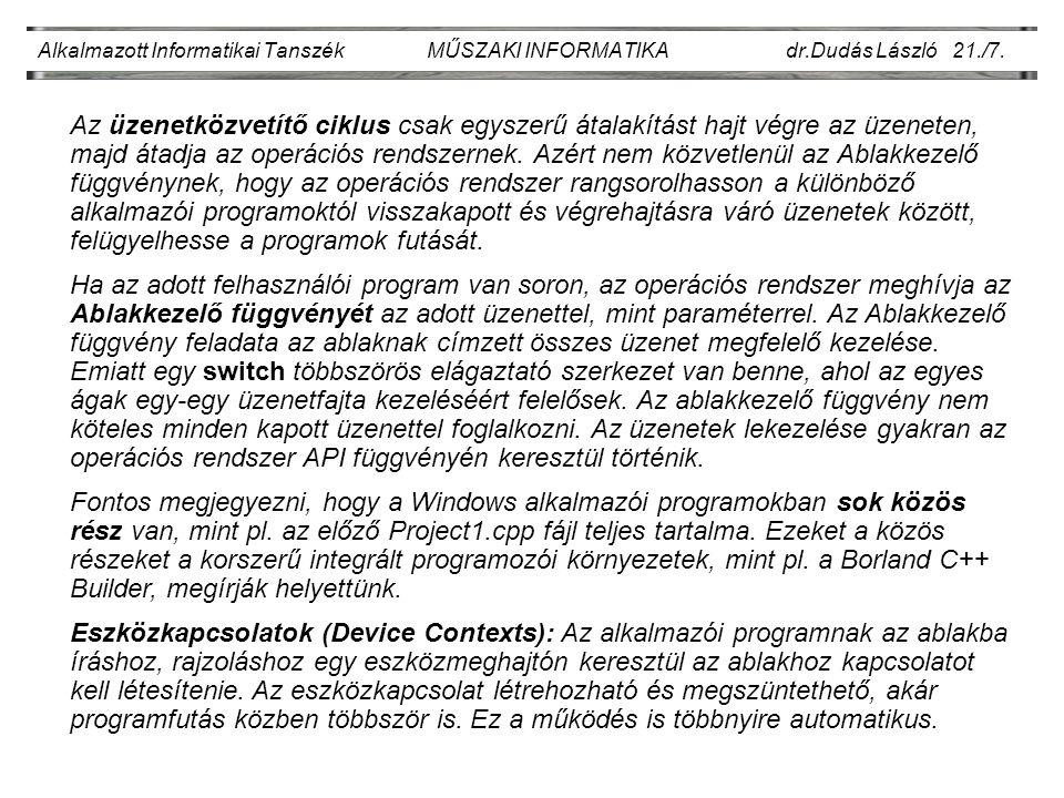 Alkalmazott Informatikai Tanszék MŰSZAKI INFORMATIKA dr.Dudás László 21./7.