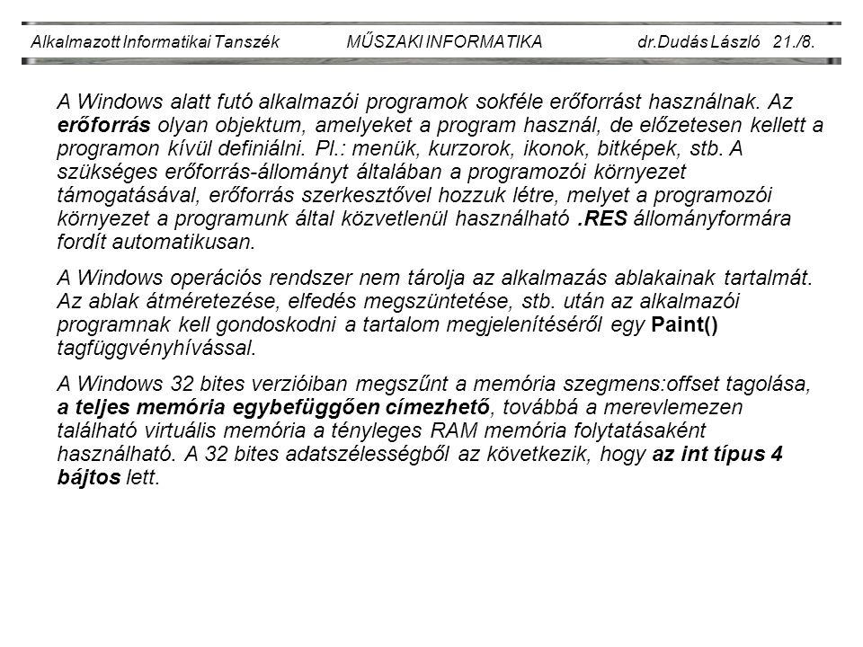 Alkalmazott Informatikai Tanszék MŰSZAKI INFORMATIKA dr.Dudás László 21./9.