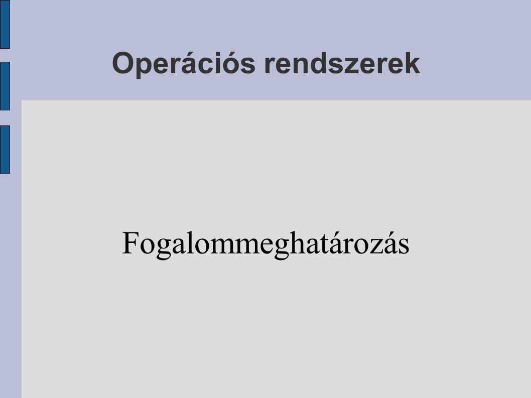 Operációs rendszerek Fogalommeghatározás