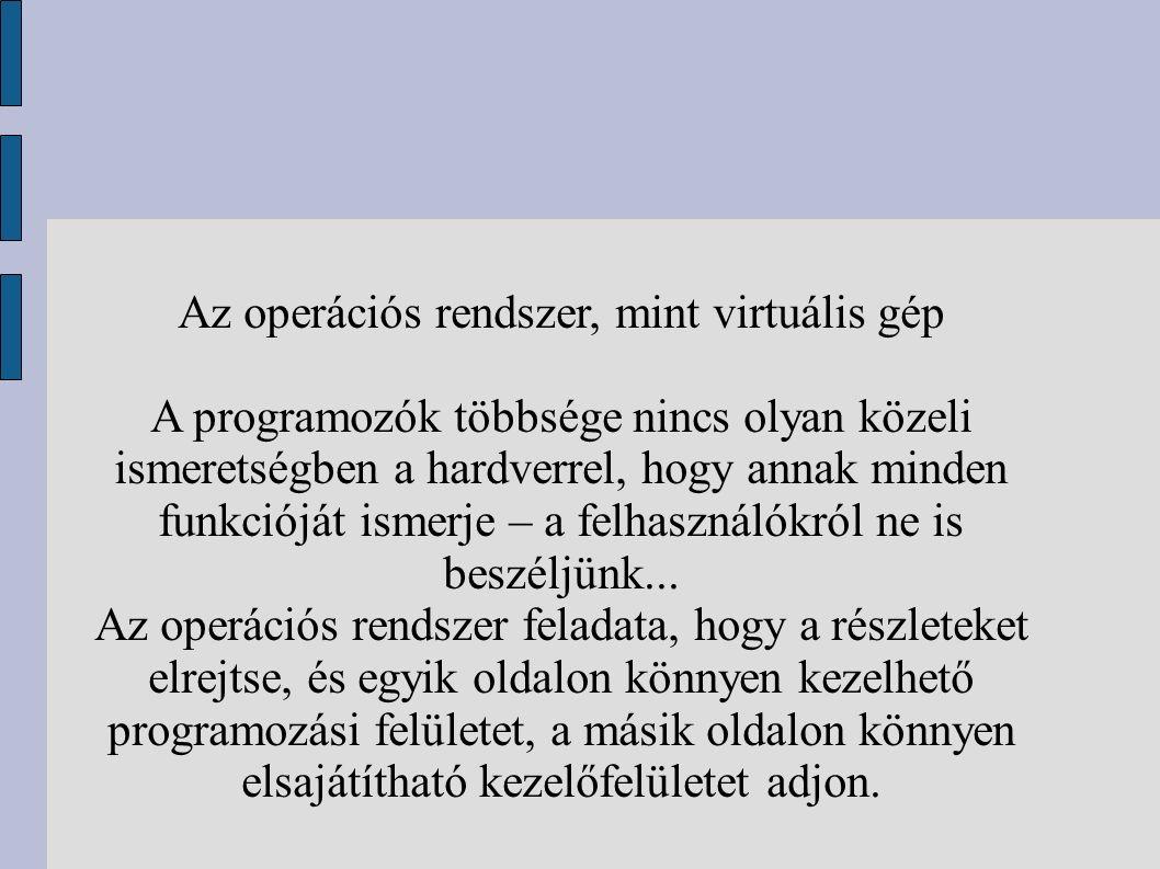 Az operációs rendszer, mint virtuális gép A programozók többsége nincs olyan közeli ismeretségben a hardverrel, hogy annak minden funkcióját ismerje – a felhasználókról ne is beszéljünk...