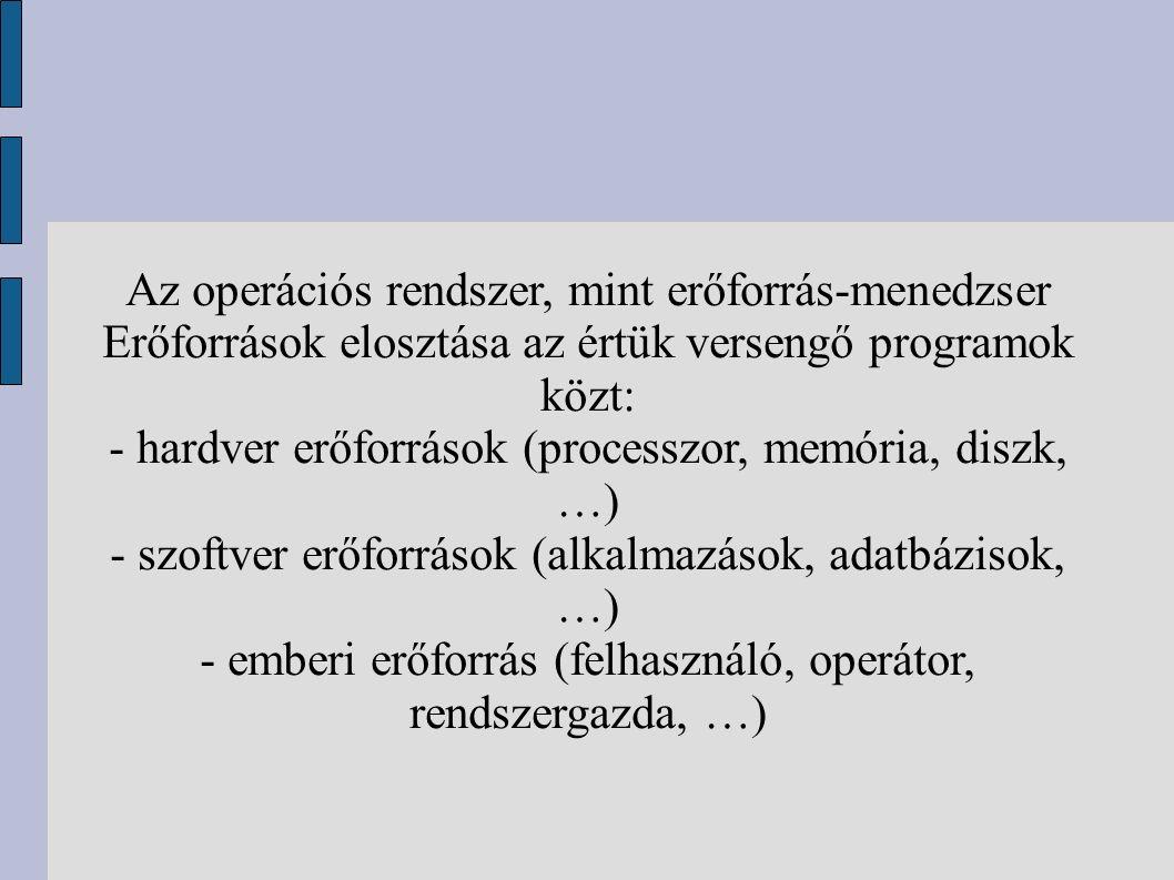 Az operációs rendszer, mint erőforrás-menedzser Erőforrások elosztása az értük versengő programok közt: - hardver erőforrások (processzor, memória, diszk, …) - szoftver erőforrások (alkalmazások, adatbázisok, …) - emberi erőforrás (felhasználó, operátor, rendszergazda, …)