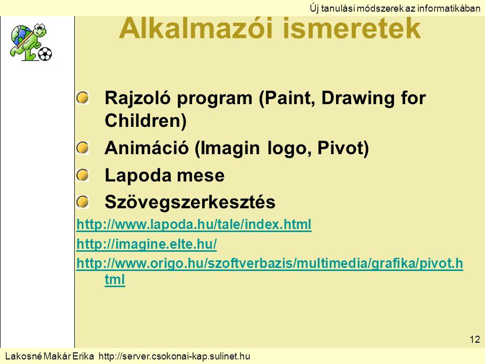 Új tanulási módszerek az informatikában Lakosné Makár Erika http://server.csokonai-kap.sulinet.hu 12 Alkalmazói ismeretek Rajzoló program (Paint, Drawing for Children) Animáció (Imagin logo, Pivot) Lapoda mese Szövegszerkesztés http://www.lapoda.hu/tale/index.html http://imagine.elte.hu/ http://www.origo.hu/szoftverbazis/multimedia/grafika/pivot.h tml