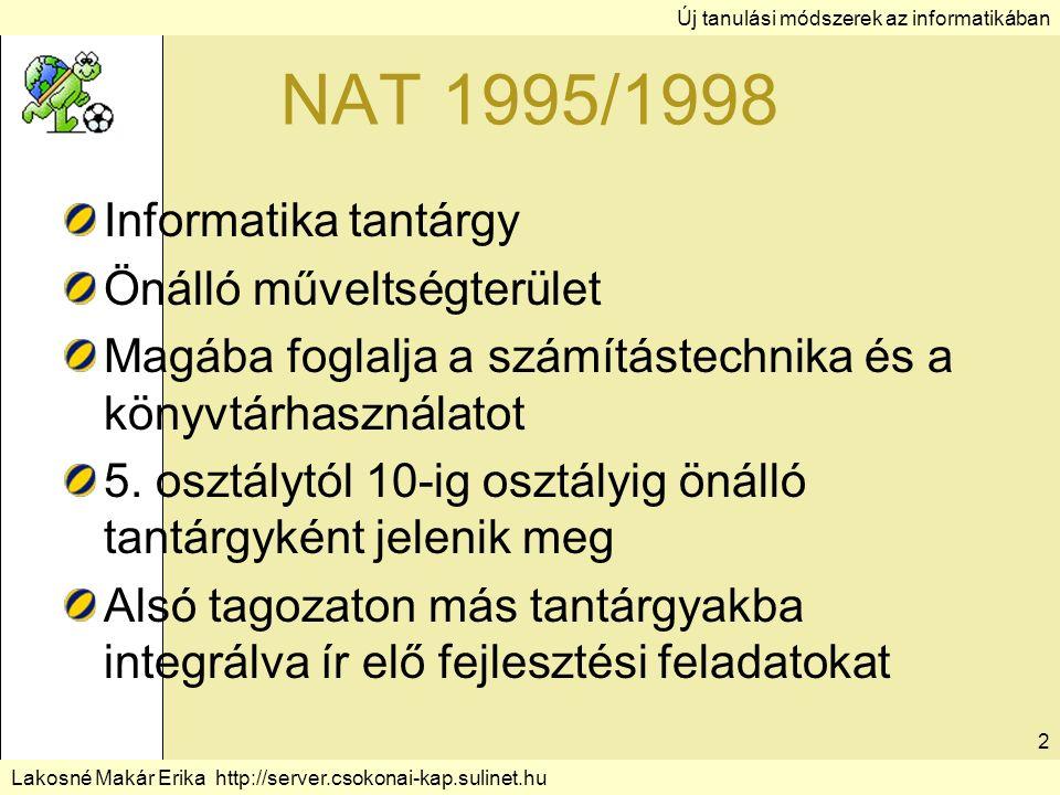 Lakosné Makár Erika http://server.csokonai-kap.sulinet.hu 2 NAT 1995/1998 Informatika tantárgy Önálló műveltségterület Magába foglalja a számítástechnika és a könyvtárhasználatot 5.
