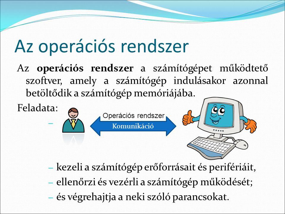 Az operációs rendszer Az operációs rendszer a számítógépet működtető szoftver, amely a számítógép indulásakor azonnal betöltődik a számítógép memóriájába.