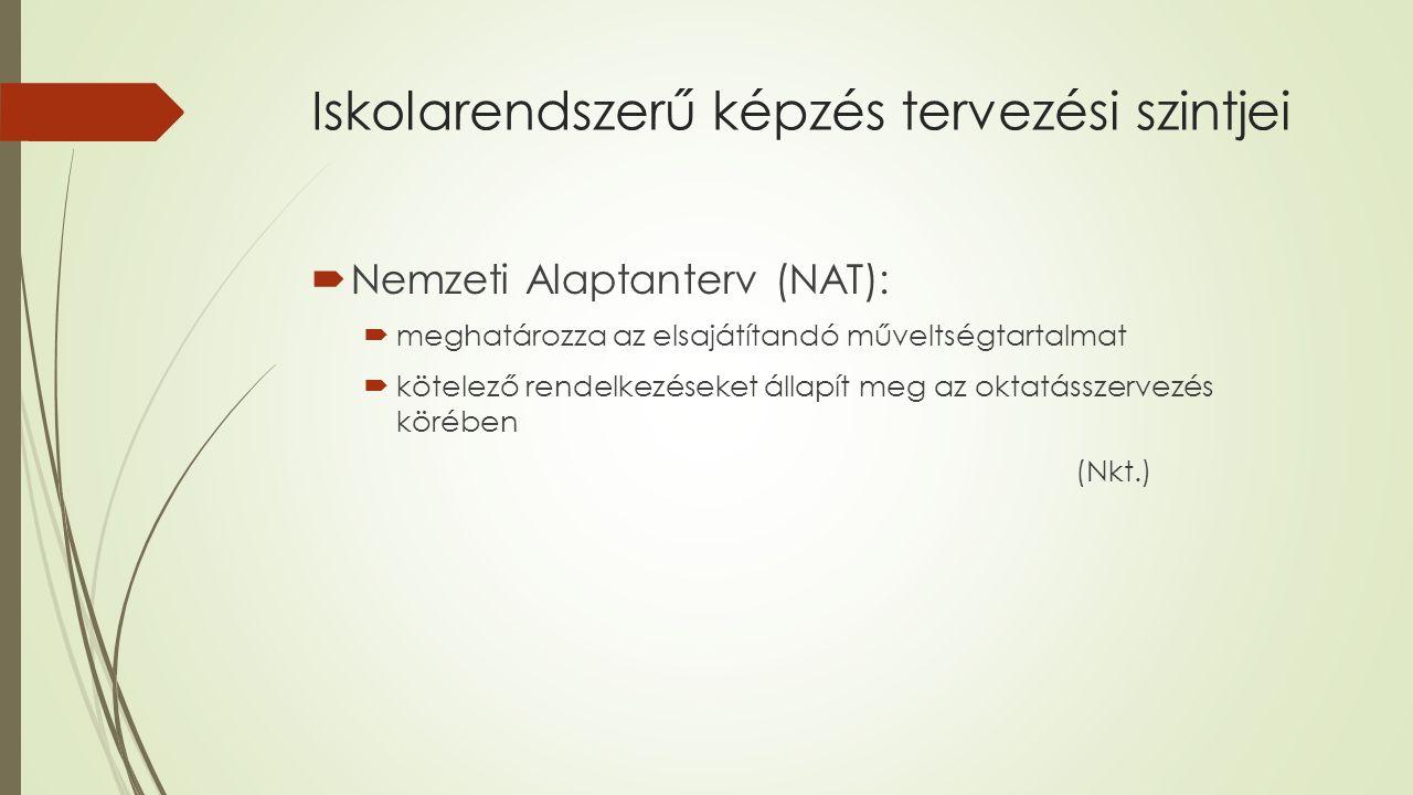 Iskolarendszerű képzés tervezési szintjei  Nemzeti Alaptanterv (NAT):  meghatározza az elsajátítandó műveltségtartalmat  kötelező rendelkezéseket állapít meg az oktatásszervezés körében (Nkt.)