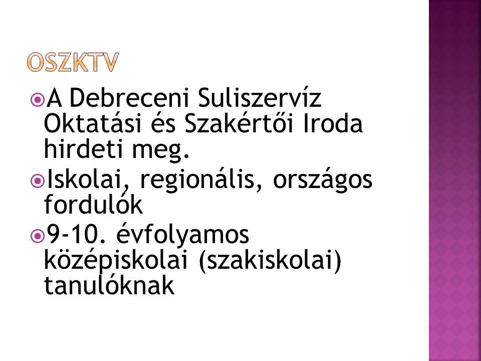  A Debreceni Suliszervíz Oktatási és Szakértői Iroda hirdeti meg.