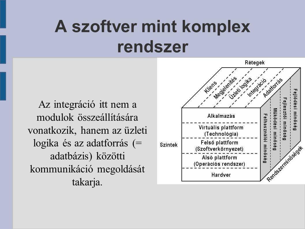 A szoftver mint komplex rendszer Az integráció itt nem a modulok összeállítására vonatkozik, hanem az üzleti logika és az adatforrás (= adatbázis) köz