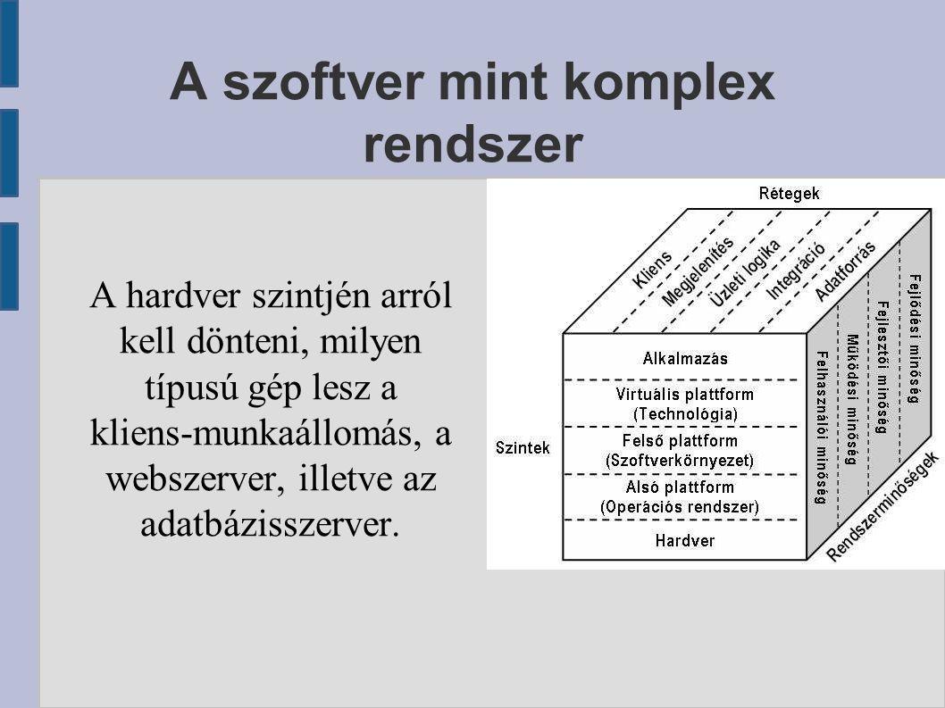 A szoftver mint komplex rendszer A hardver szintjén arról kell dönteni, milyen típusú gép lesz a kliens-munkaállomás, a webszerver, illetve az adatbáz