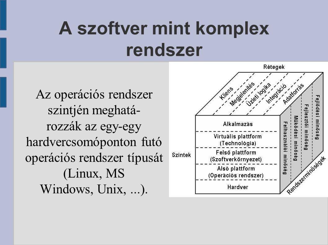 A szoftver mint komplex rendszer Az operációs rendszer szintjén meghatá- rozzák az egy-egy hardvercsomóponton futó operációs rendszer típusát (Linux,