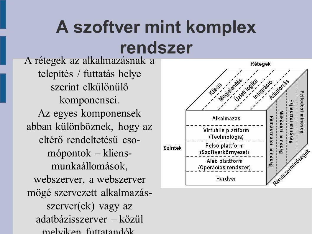 A szoftver mint komplex rendszer A rétegek az alkalmazásnak a telepítés / futtatás helye szerint elkülönülő komponensei. Az egyes komponensek abban kü