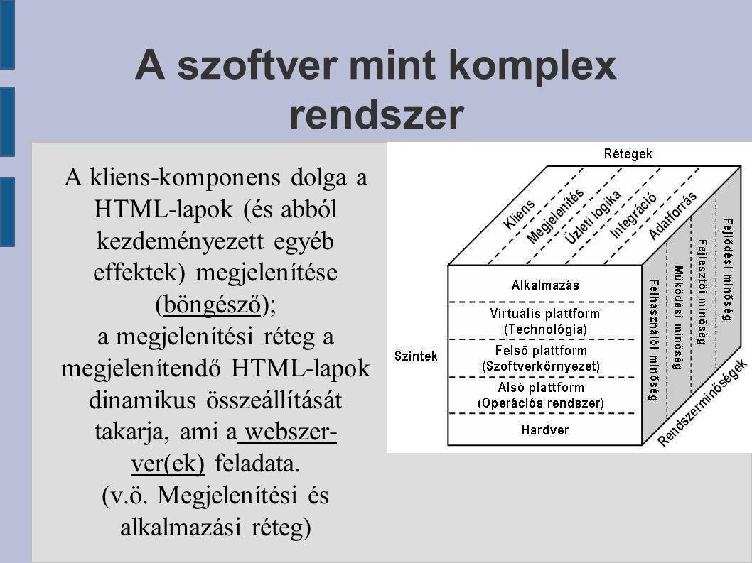 A szoftver mint komplex rendszer A kliens-komponens dolga a HTML-lapok (és abból kezdeményezett egyéb effektek) megjelenítése (böngésző); a megjelenít