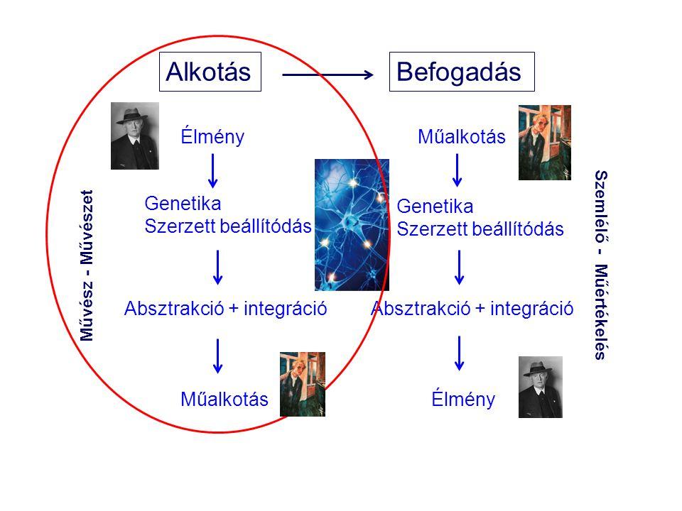 AlkotásBefogadás Genetika Szerzett beállítódás Absztrakció + integráció Műalkotás Genetika Szerzett beállítódás Absztrakció + integráció Élmény Művész