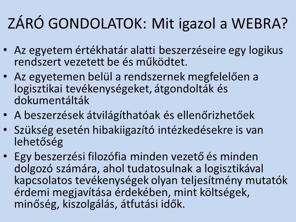 ZÁRÓ GONDOLATOK: Mit igazol a WEBRA? Az egyetem értékhatár alatti beszerzéseire egy logikus rendszert vezetett be és működtet. Az egyetemen belül a re