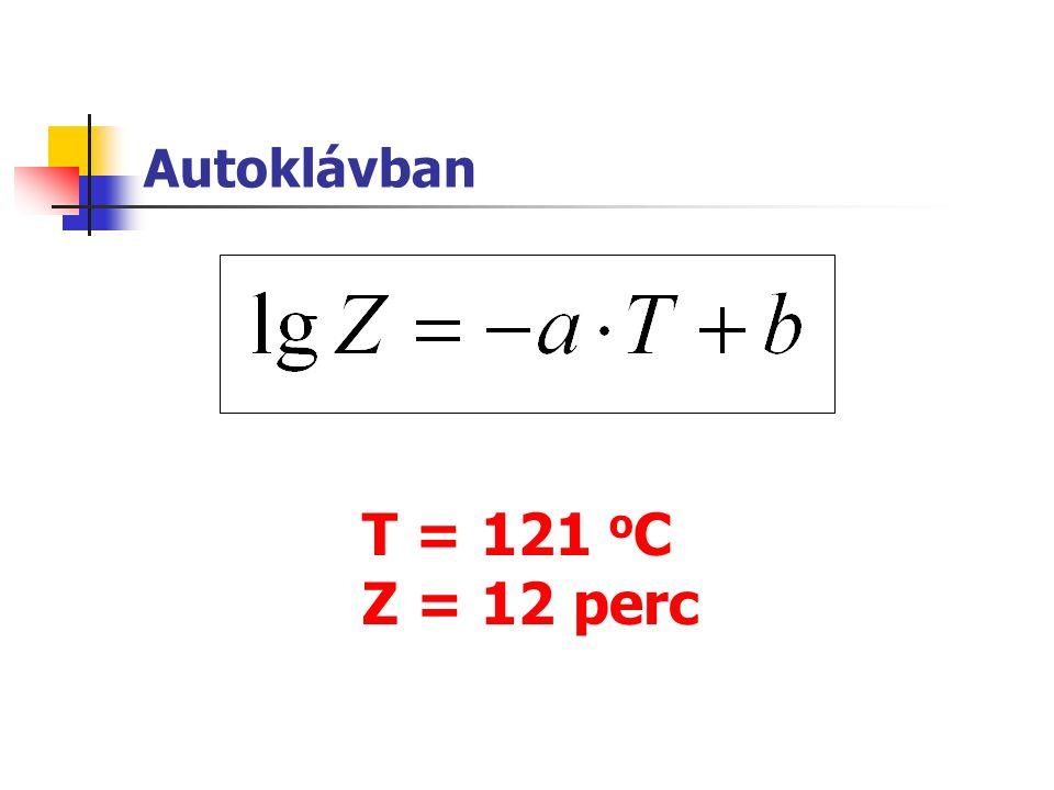Autoklávban T = 121 o C Z = 12 perc