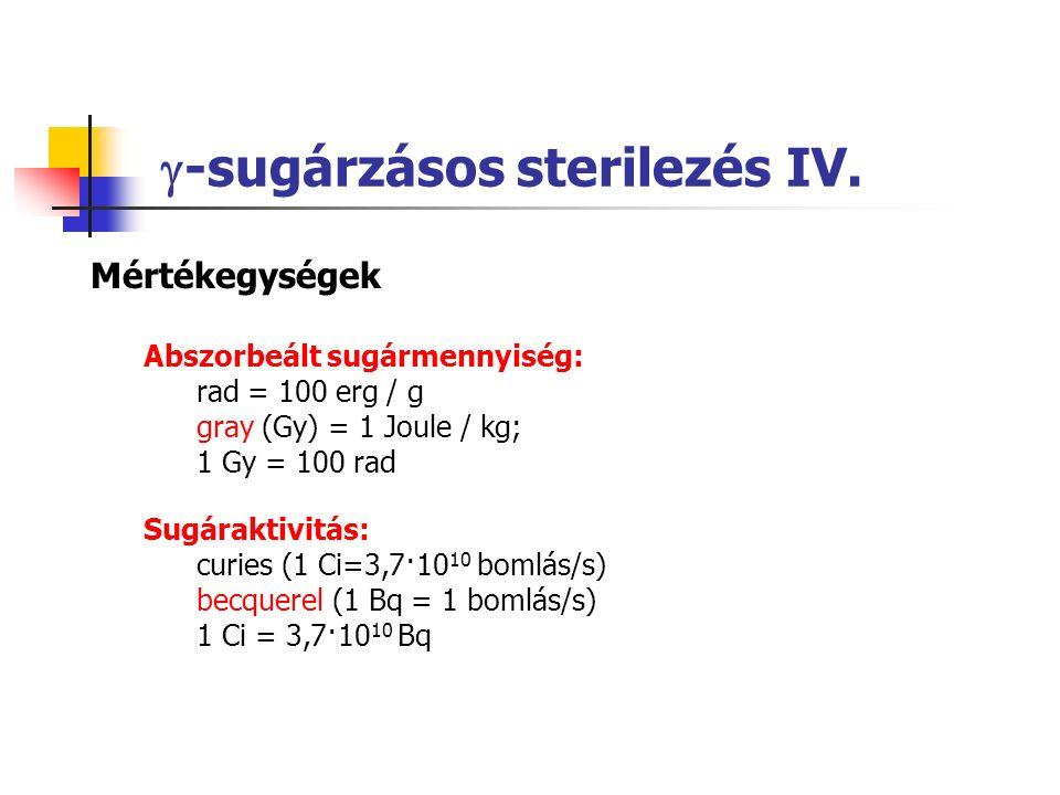 -sugárzásos sterilezés IV.