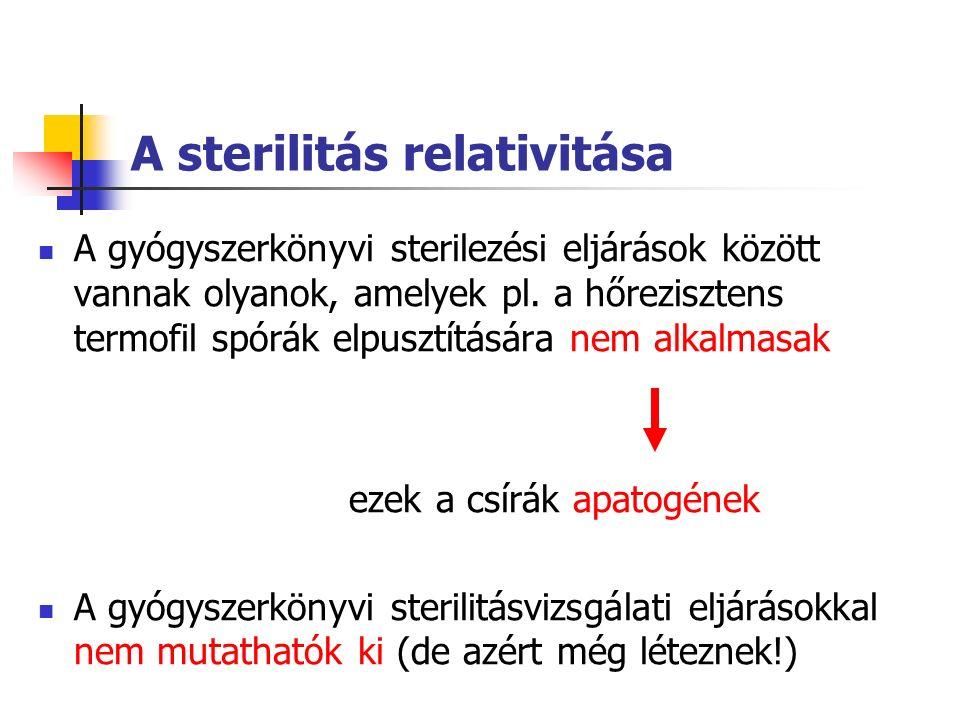 A sterilitás relativitása A gyógyszerkönyvi sterilezési eljárások között vannak olyanok, amelyek pl.