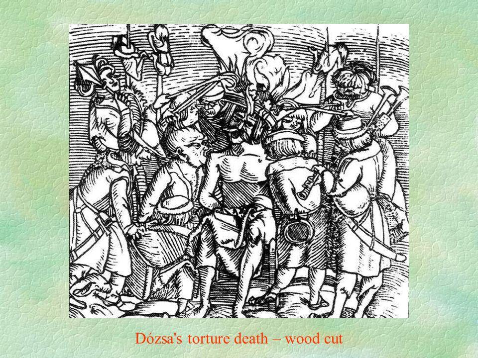 Dózsa s torture death – wood cut